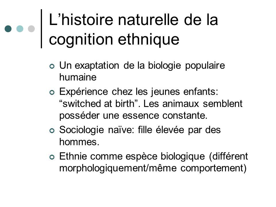 Lhistoire naturelle de la cognition ethnique Un exaptation de la biologie populaire humaine Expérience chez les jeunes enfants: switched at birth.
