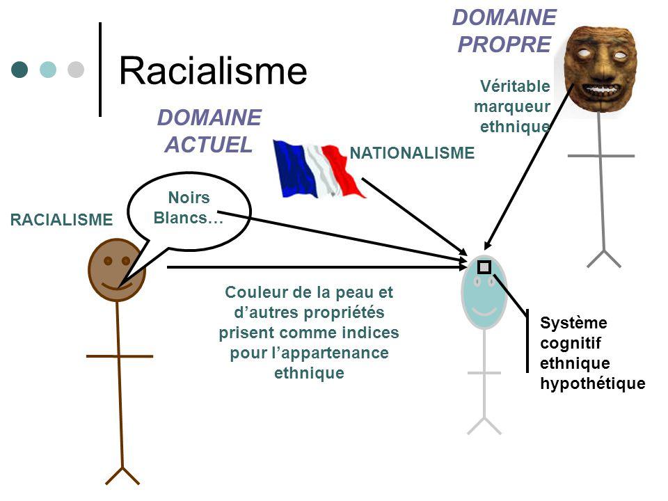 Racialisme Système cognitif ethnique hypothétique Couleur de la peau et dautres propriétés prisent comme indices pour lappartenance ethnique Véritable marqueur ethnique DOMAINE PROPRE DOMAINE ACTUEL Noirs Blancs… RACIALISME NATIONALISME