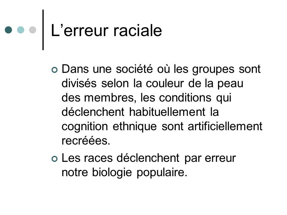 Lerreur raciale Dans une société où les groupes sont divisés selon la couleur de la peau des membres, les conditions qui déclenchent habituellement la cognition ethnique sont artificiellement recréées.