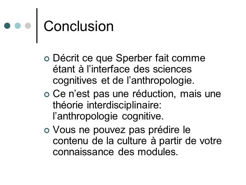 Conclusion Décrit ce que Sperber fait comme étant à linterface des sciences cognitives et de lanthropologie.