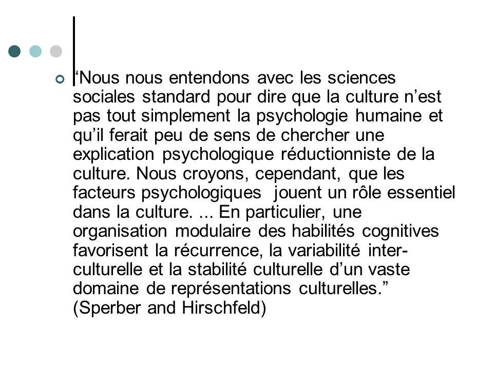 Nous nous entendons avec les sciences sociales standard pour dire que la culture nest pas tout simplement la psychologie humaine et quil ferait peu de sens de chercher une explication psychologique réductionniste de la culture.
