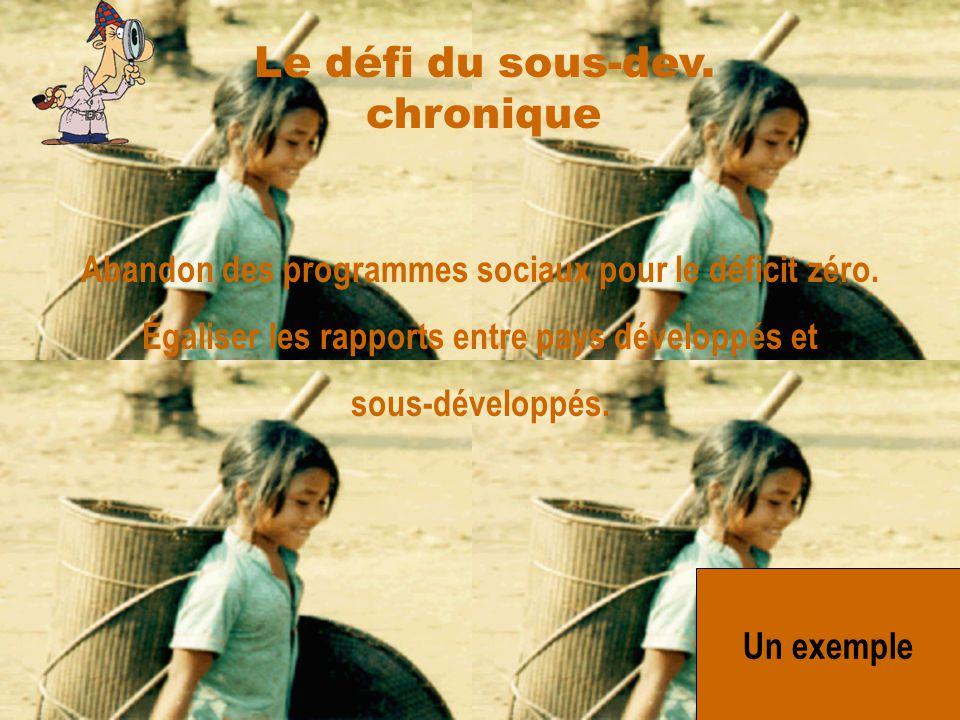 Le défi du sous-dev. chronique Abandon des programmes sociaux pour le déficit zéro. Égaliser les rapports entre pays développés et sous-développés.