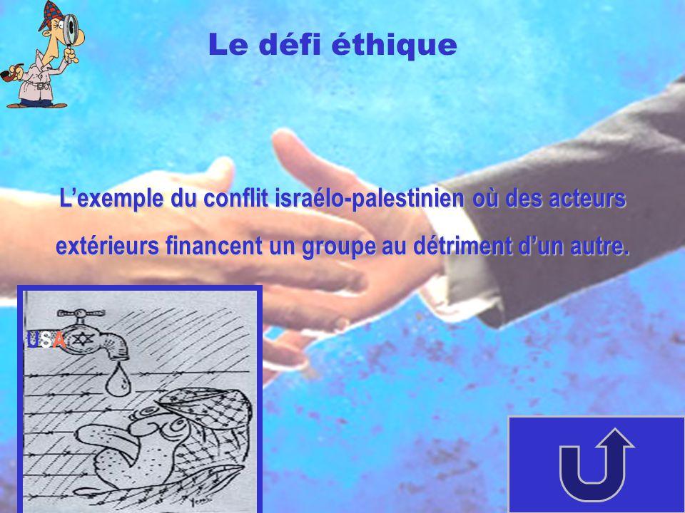 Lexemple du conflit israélo-palestinien où des acteurs extérieurs financent un groupe au détriment dun autre. Le défi éthique USAUSA