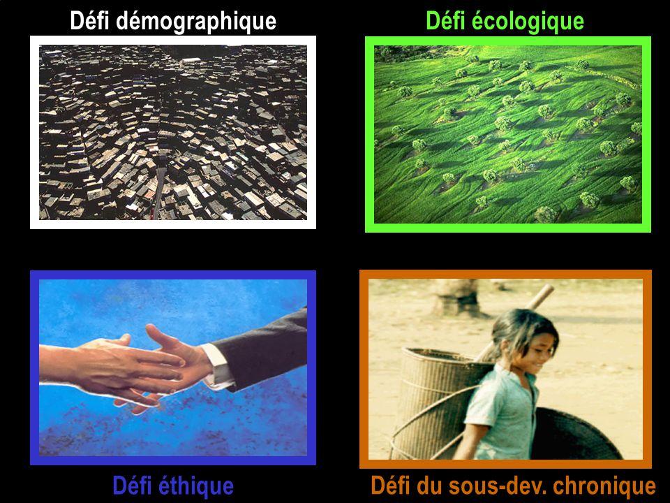 Défi écologique Défi éthique Défi démographique Défi du sous-dev. chronique