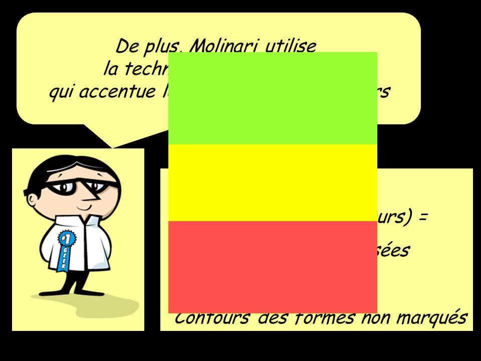 De plus, Molinari utilise la technique du Hard Edge qui accentue le dynamisme des couleurs Hard Edge (vibration des couleurs) = Couleurs juxtaposées + Contours des formes non marqués