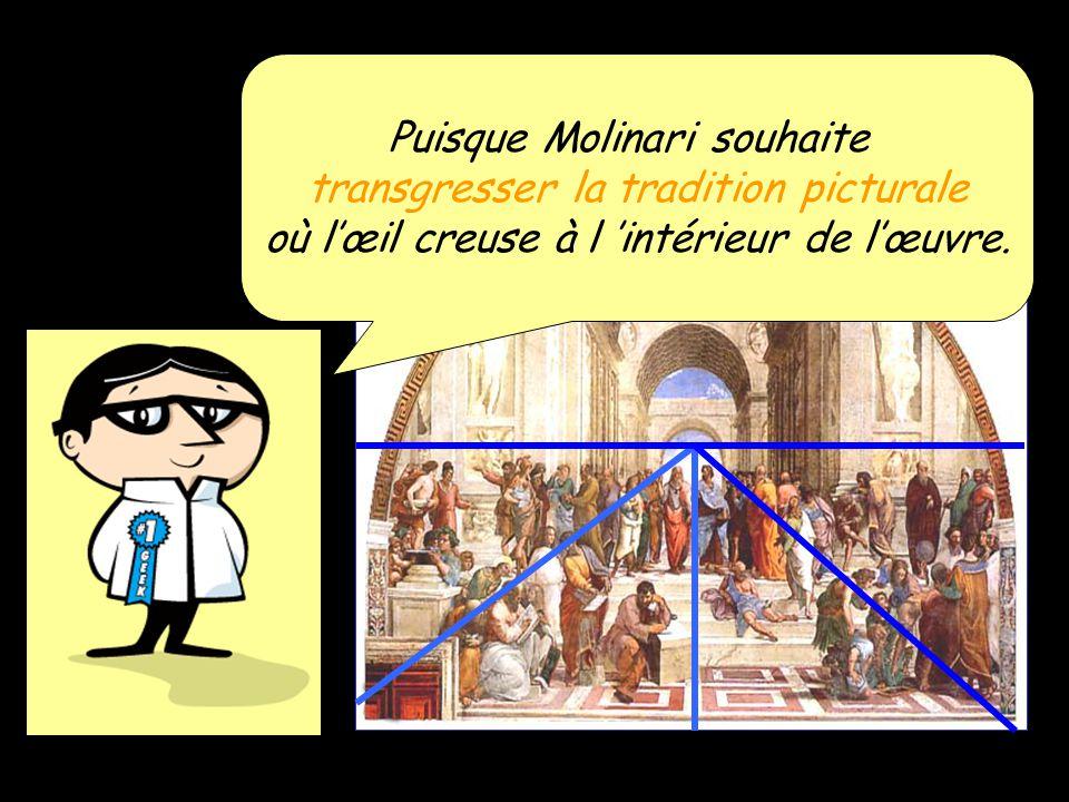 Puisque Molinari souhaite transgresser la tradition picturale où lœil creuse à l intérieur de lœuvre.