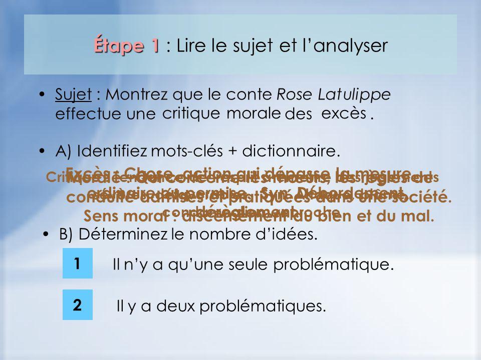 Étape 1 Étape 1 : Lire le sujet et lanalyser Sujet : Montrez que le conte Rose Latulippe effectue une des. critiquemoraleexcès Critique : Tendance de