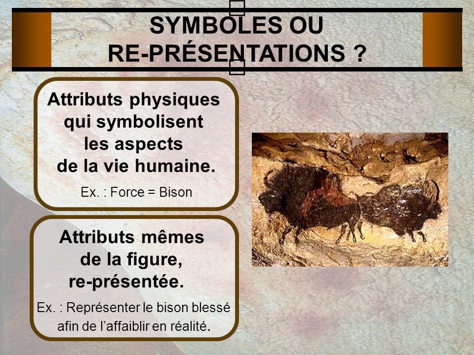 SYMBOLES OU RE-PRÉSENTATIONS . Attributs physiques qui symbolisent les aspects de la vie humaine.