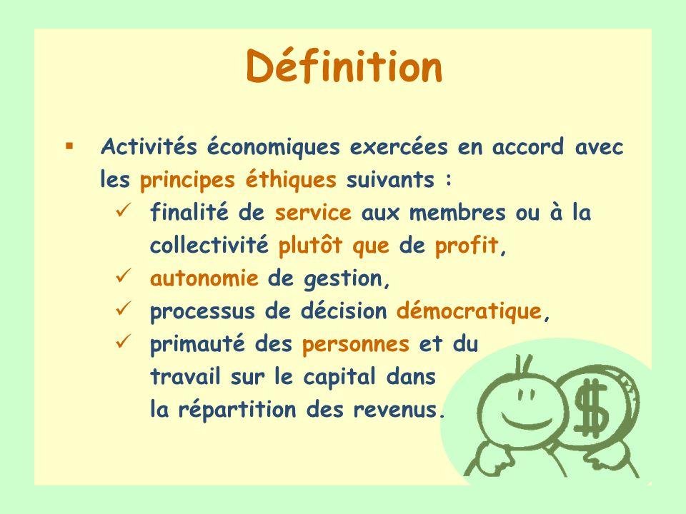 Exercice – Vrai ou Faux VRAI FAUX VRAI Au Québec, léconomie sociale représente 650 entreprises Les entreprises dinsertion par le travail constituent une forme déconomie sociale Léconomie sociale est un phénomène récent Lhumain est au centre des préoccupations des entreprises déconomie sociale FAUX