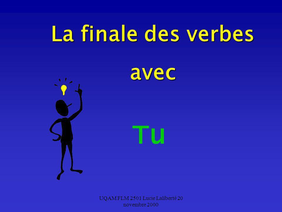 UQAM FLM 2501 Lucie Laliberté 20 novembre 2000 La finale des verbes avec Tu