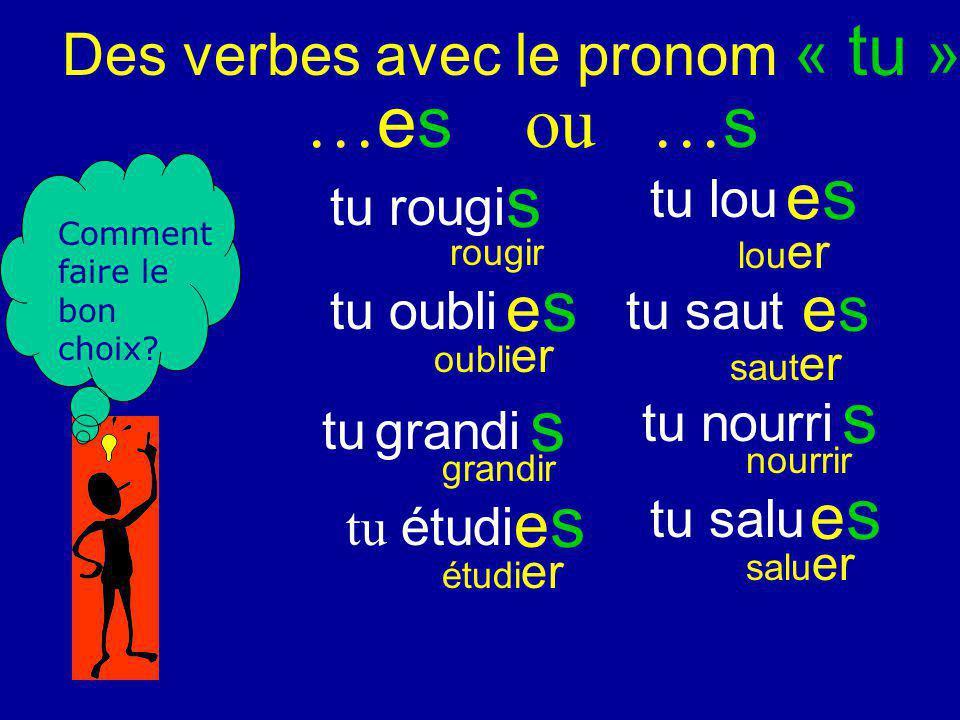 Des verbes avec le pronom « tu » tu rougi tu lou tu oubli tu grandi tu saut tu nourri tu salu tu étudi … es ou … s Mets tes verbes à linfinitif.