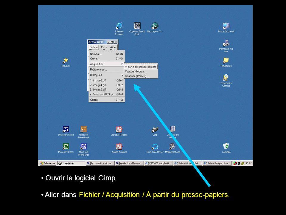 Ouvrir le logiciel Gimp. Aller dans Fichier / Acquisition / À partir du presse-papiers.