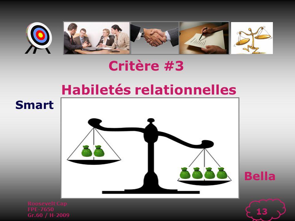 Roosevelt Cap FPE-7650 Gr.60 / H-2009 12 Habiletés relationnelles Capacité à établir des relations harmonieuses et de collaboration dans ses échanges avec autrui tout en sachant régler les conflits lorsquils surviennent.