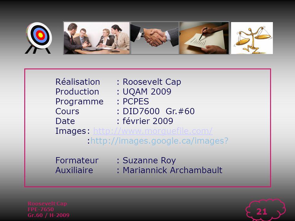 Roosevelt Cap FPE-7650 Gr.60 / H-2009 20 1.À quoi sert lévaluation de rendement .