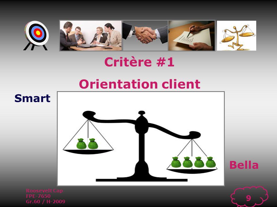 Roosevelt Cap FPE-7650 Gr.60 / H-2009 8 Critère #1 Orientation client Capacité à offrir un service de qualité supérieure à ses clients internes et externes afin de répondre à leurs besoins et de maintenir un haut niveau de satisfaction.