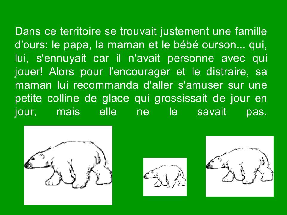 Dans ce territoire se trouvait justement une famille d ours: le papa, la maman et le bébé ourson...