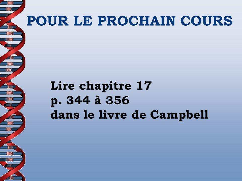 POUR LE PROCHAIN COURS Lire chapitre 17 p. 344 à 356 dans le livre de Campbell