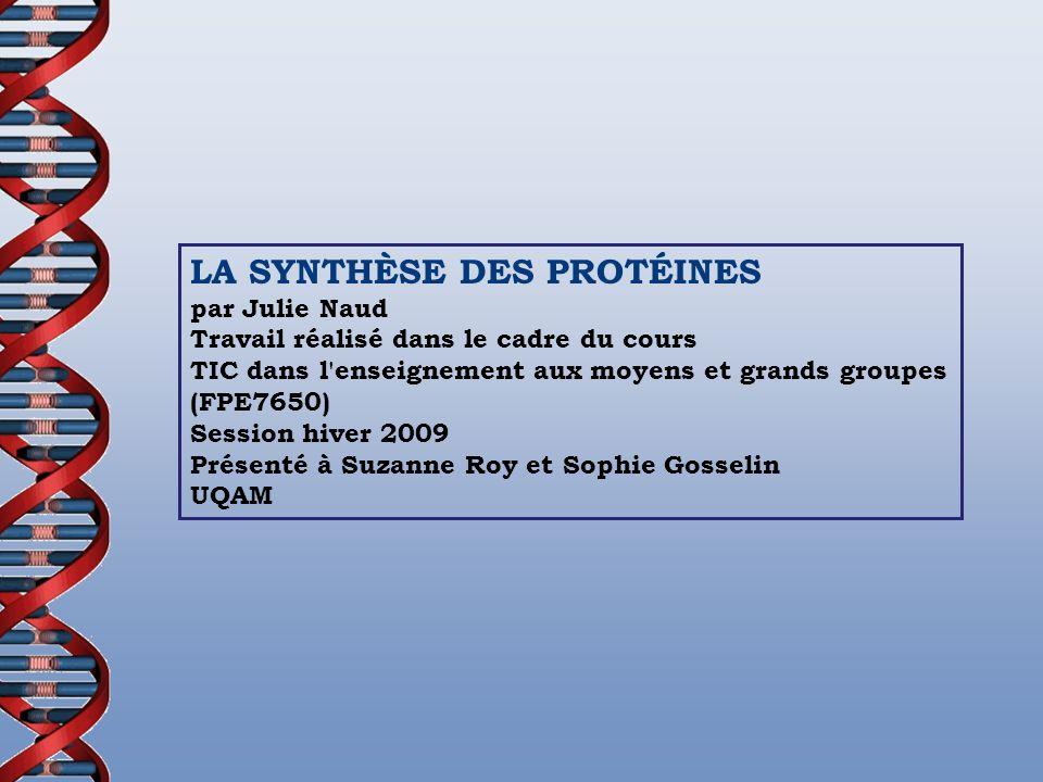 LA SYNTHÈSE DES PROTÉINES par Julie Naud Travail réalisé dans le cadre du cours TIC dans l'enseignement aux moyens et grands groupes (FPE7650) Session