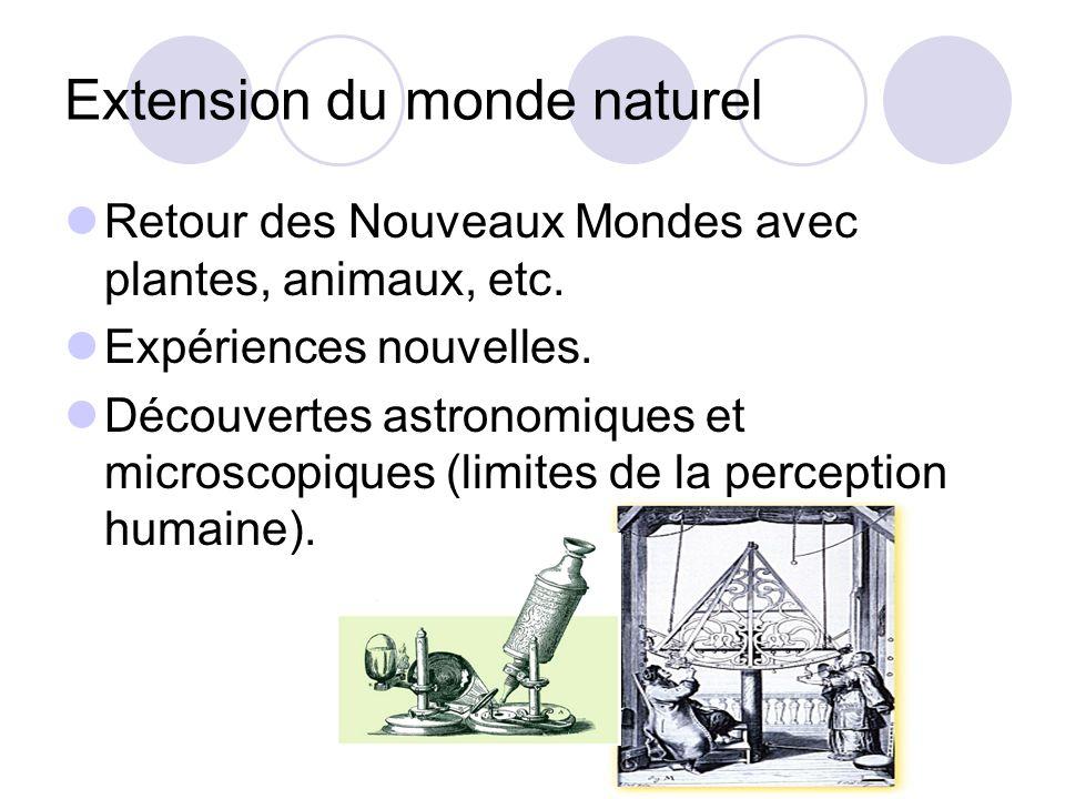 Extension du monde naturel Retour des Nouveaux Mondes avec plantes, animaux, etc. Expériences nouvelles. Découvertes astronomiques et microscopiques (