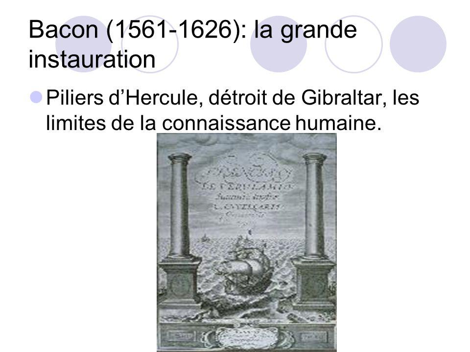 Bacon (1561-1626): la grande instauration Piliers dHercule, détroit de Gibraltar, les limites de la connaissance humaine.