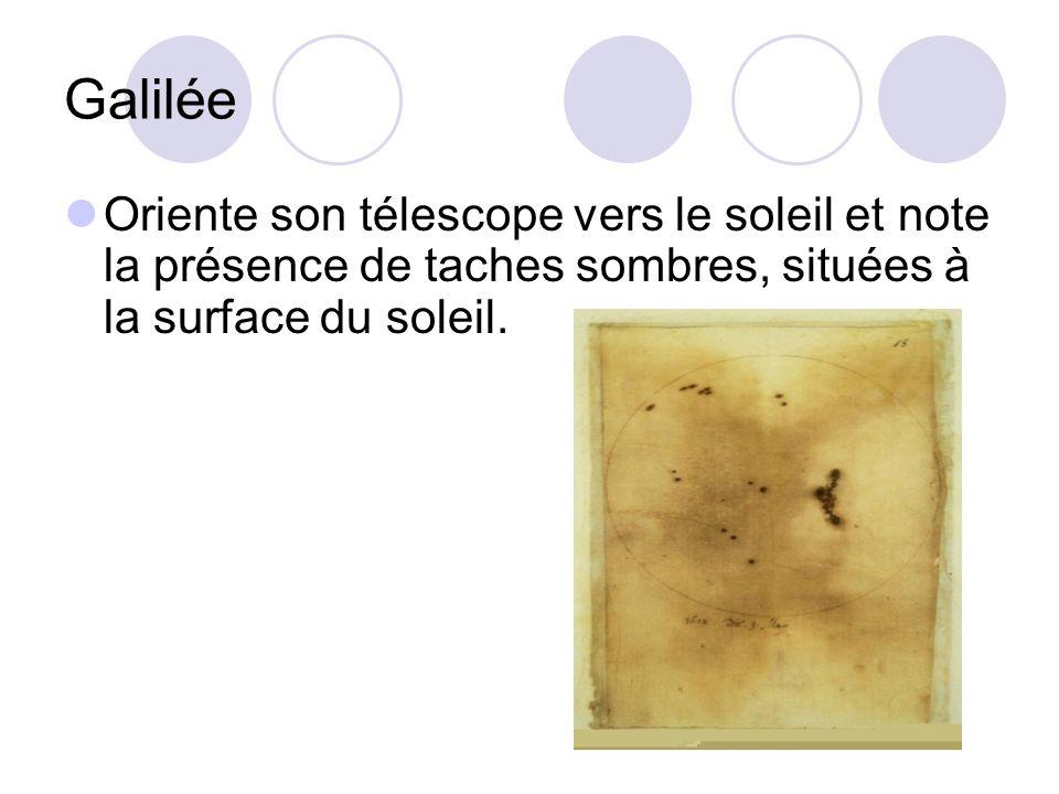 Galilée Oriente son télescope vers le soleil et note la présence de taches sombres, situées à la surface du soleil.