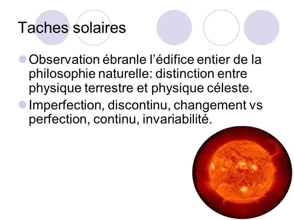 Taches solaires Observation ébranle lédifice entier de la philosophie naturelle: distinction entre physique terrestre et physique céleste.