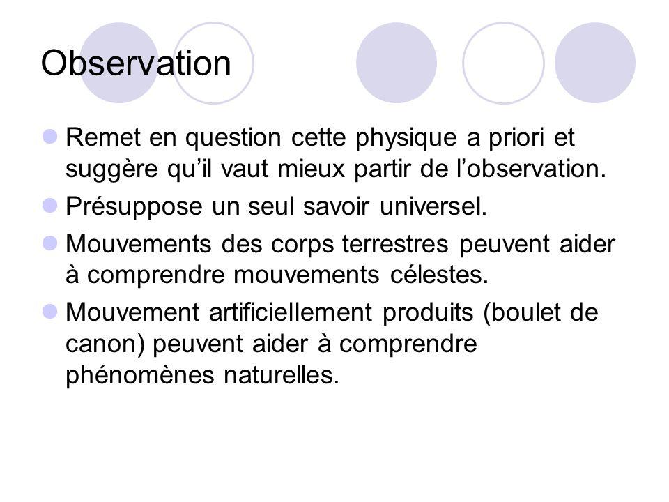 Observation Remet en question cette physique a priori et suggère quil vaut mieux partir de lobservation.