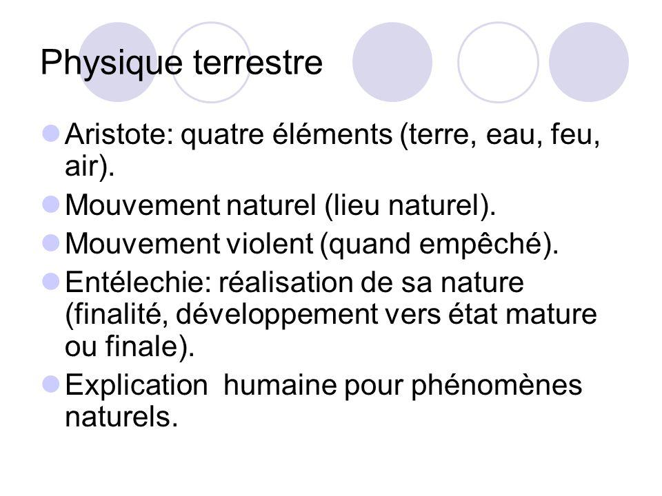 Physique terrestre Aristote: quatre éléments (terre, eau, feu, air). Mouvement naturel (lieu naturel). Mouvement violent (quand empêché). Entélechie: