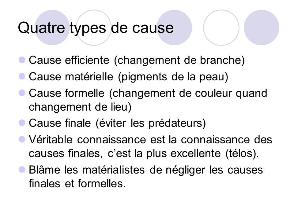 Quatre types de cause Cause efficiente (changement de branche) Cause matérielle (pigments de la peau) Cause formelle (changement de couleur quand chan