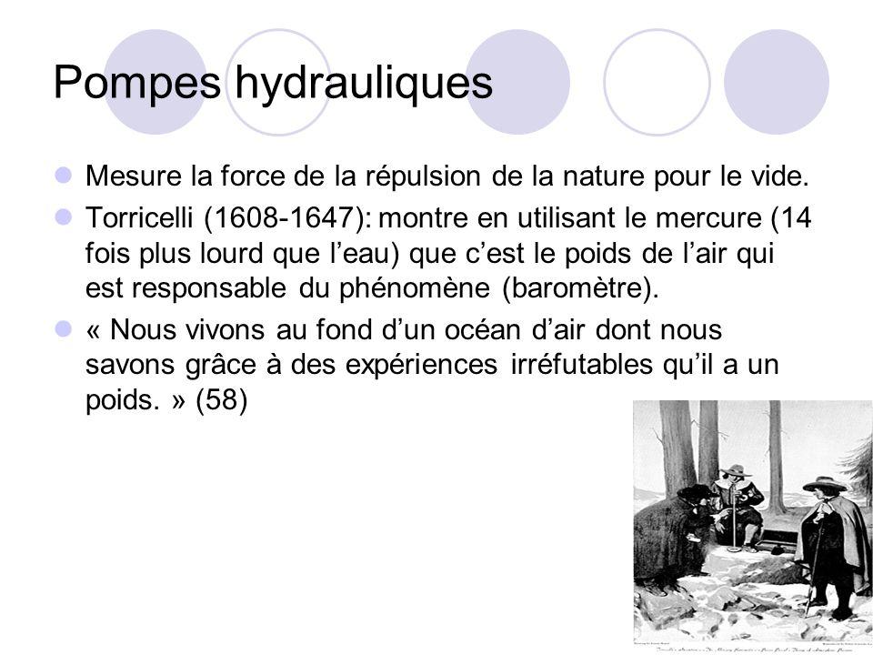 Pompes hydrauliques Mesure la force de la répulsion de la nature pour le vide. Torricelli (1608-1647): montre en utilisant le mercure (14 fois plus lo