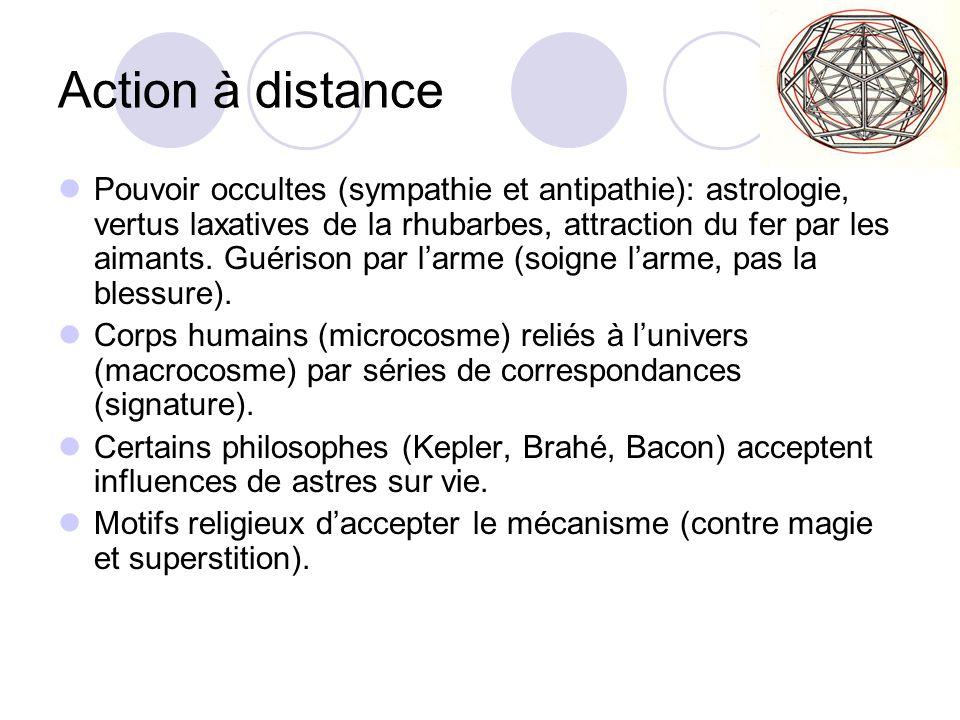 Action à distance Pouvoir occultes (sympathie et antipathie): astrologie, vertus laxatives de la rhubarbes, attraction du fer par les aimants. Guériso