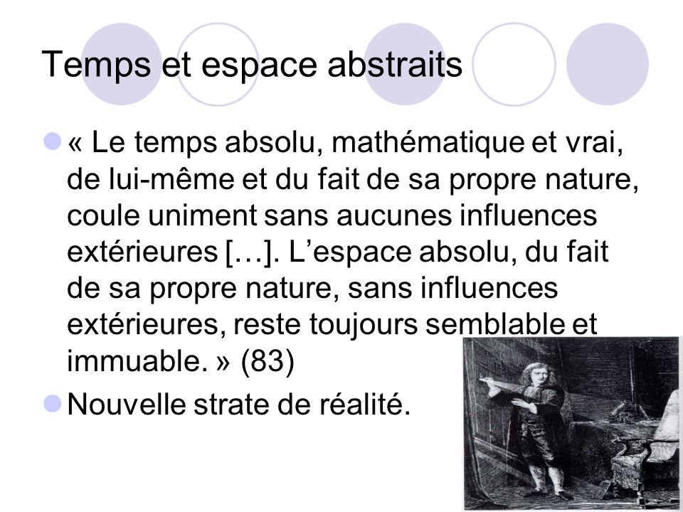 Temps et espace abstraits « Le temps absolu, mathématique et vrai, de lui-même et du fait de sa propre nature, coule uniment sans aucunes influences e