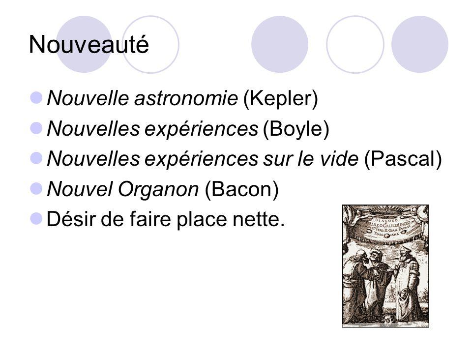 Nouveauté Nouvelle astronomie (Kepler) Nouvelles expériences (Boyle) Nouvelles expériences sur le vide (Pascal) Nouvel Organon (Bacon) Désir de faire