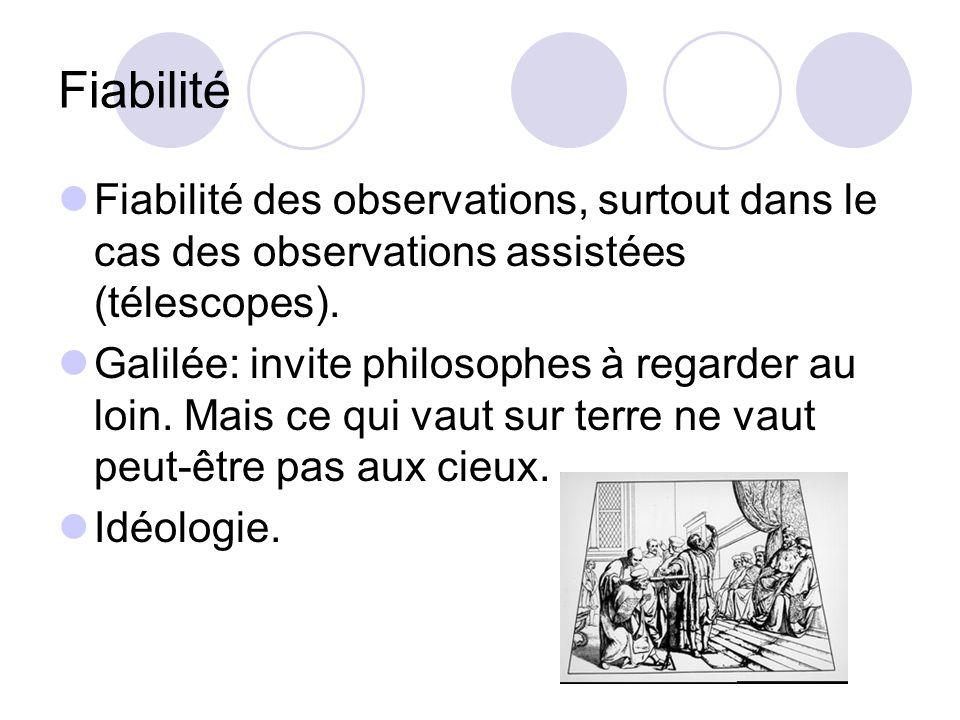 Fiabilité Fiabilité des observations, surtout dans le cas des observations assistées (télescopes). Galilée: invite philosophes à regarder au loin. Mai