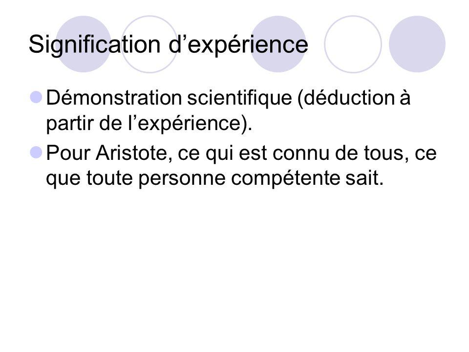 Signification dexpérience Démonstration scientifique (déduction à partir de lexpérience). Pour Aristote, ce qui est connu de tous, ce que toute person