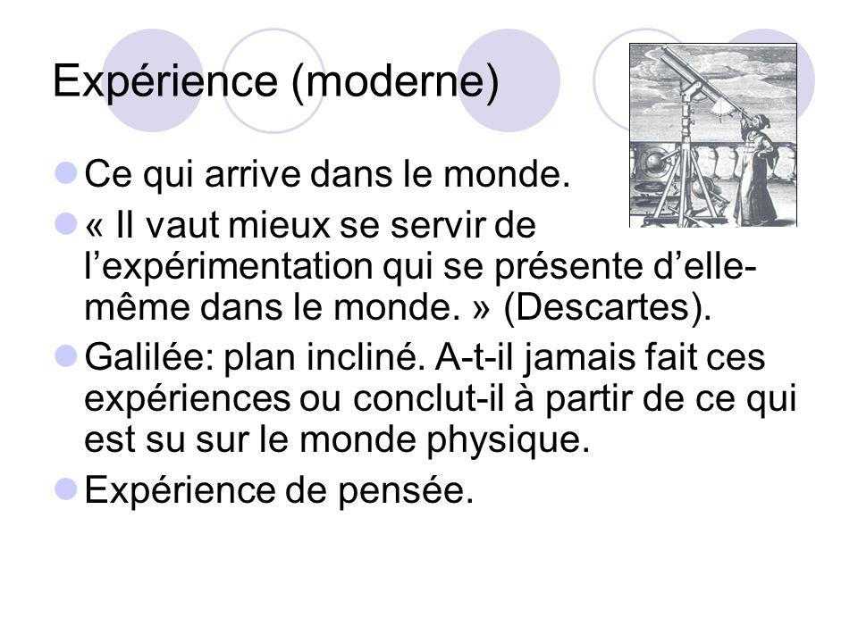 Expérience (moderne) Ce qui arrive dans le monde. « Il vaut mieux se servir de lexpérimentation qui se présente delle- même dans le monde. » (Descarte