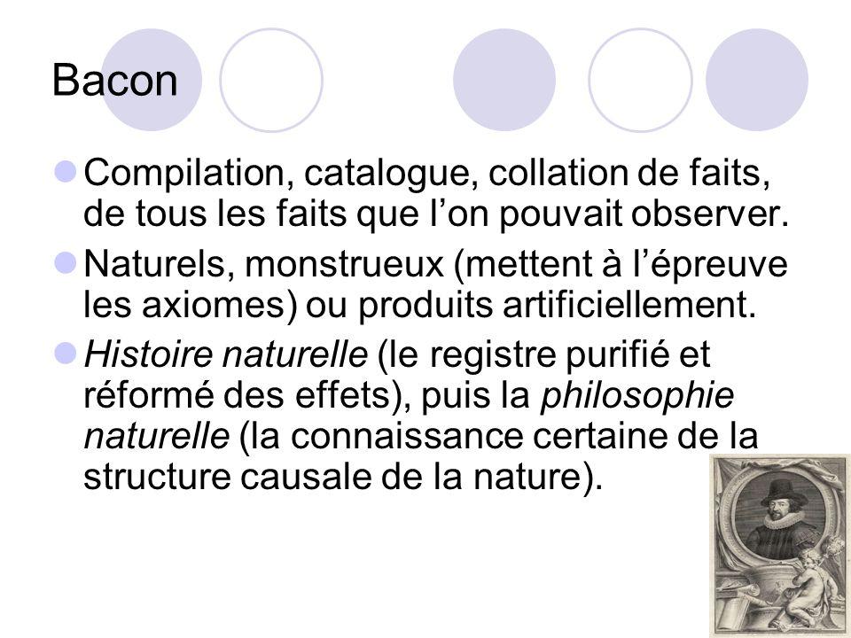 Bacon Compilation, catalogue, collation de faits, de tous les faits que lon pouvait observer. Naturels, monstrueux (mettent à lépreuve les axiomes) ou