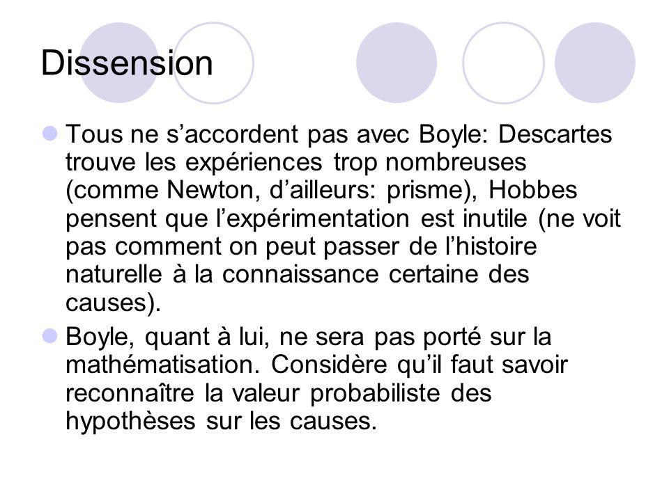 Dissension Tous ne saccordent pas avec Boyle: Descartes trouve les expériences trop nombreuses (comme Newton, dailleurs: prisme), Hobbes pensent que lexpérimentation est inutile (ne voit pas comment on peut passer de lhistoire naturelle à la connaissance certaine des causes).