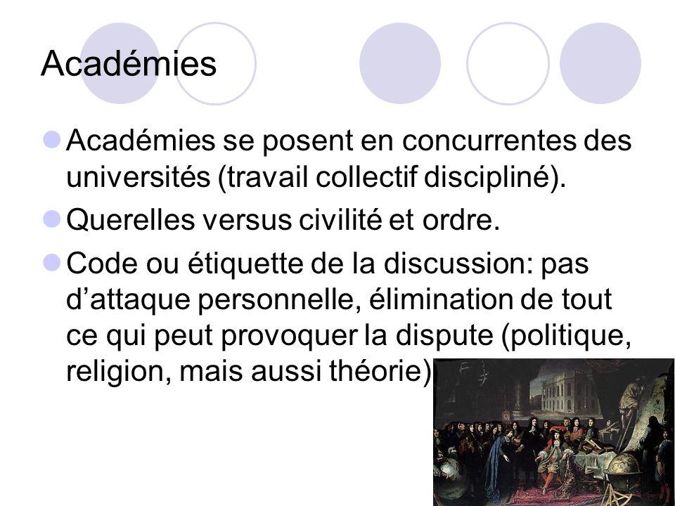 Académies Académies se posent en concurrentes des universités (travail collectif discipliné). Querelles versus civilité et ordre. Code ou étiquette de