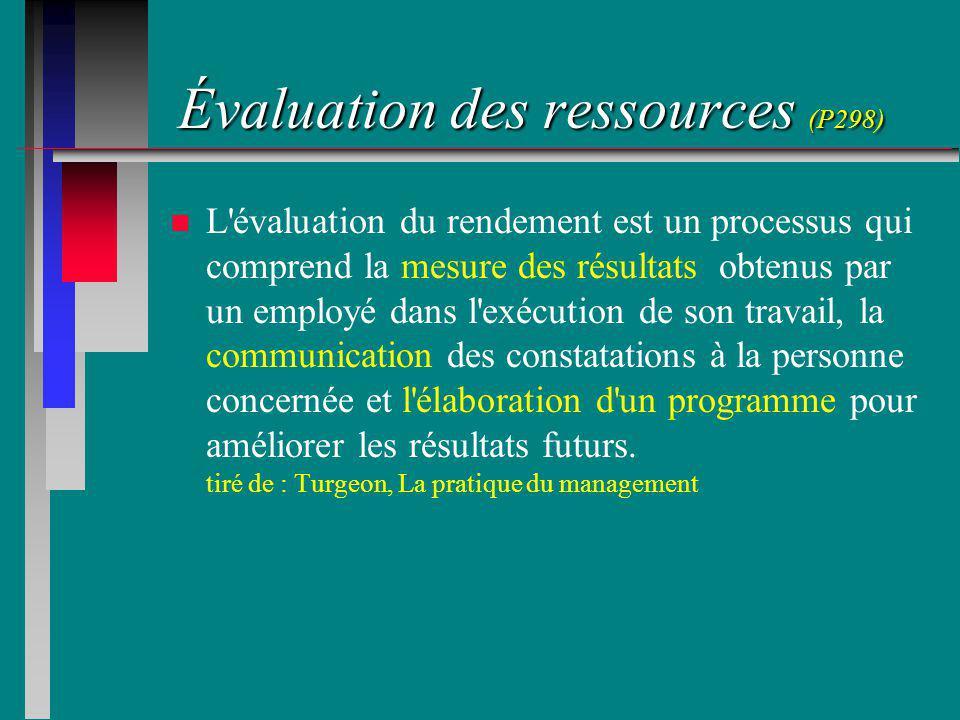 Évaluation des ressources (P298) n n L évaluation du rendement est un processus qui comprend la mesure des résultats obtenus par un employé dans l exécution de son travail, la communication des constatations à la personne concernée et l élaboration d un programme pour améliorer les résultats futurs.
