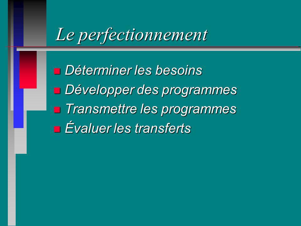 Le perfectionnement n Déterminer les besoins n Développer des programmes n Transmettre les programmes n Évaluer les transferts