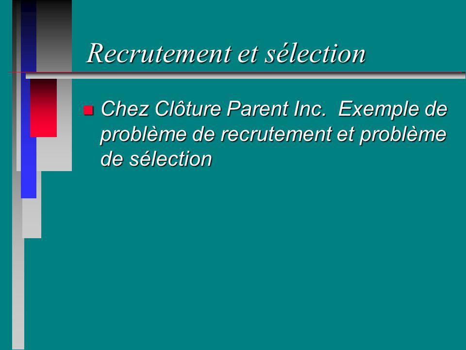 Recrutement et sélection n Chez Clôture Parent Inc. Exemple de problème de recrutement et problème de sélection