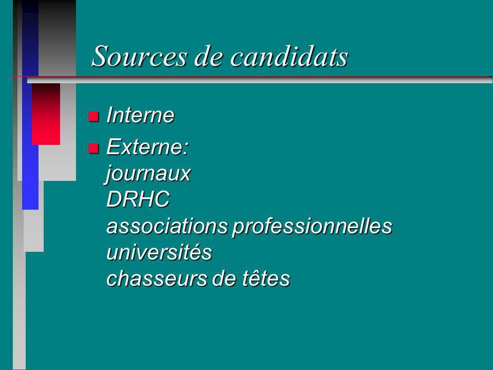 Sources de candidats n Interne n Externe: journaux DRHC associations professionnelles universités chasseurs de têtes