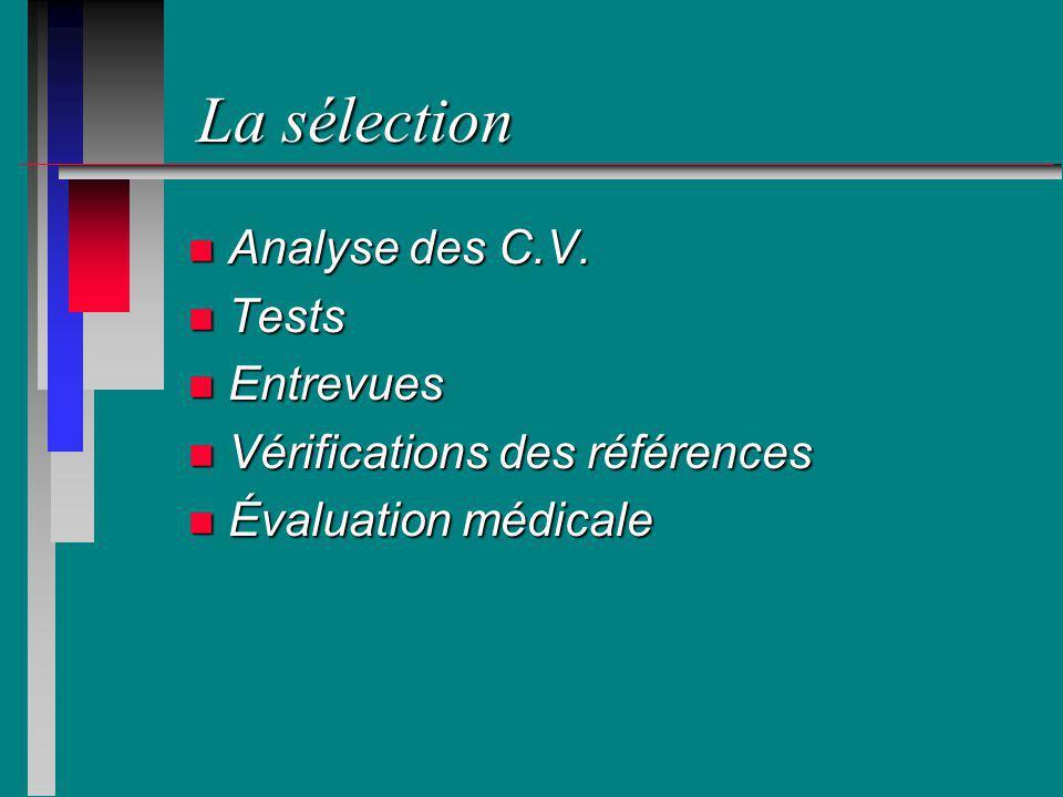 La sélection n Analyse des C.V. n Tests n Entrevues n Vérifications des références n Évaluation médicale
