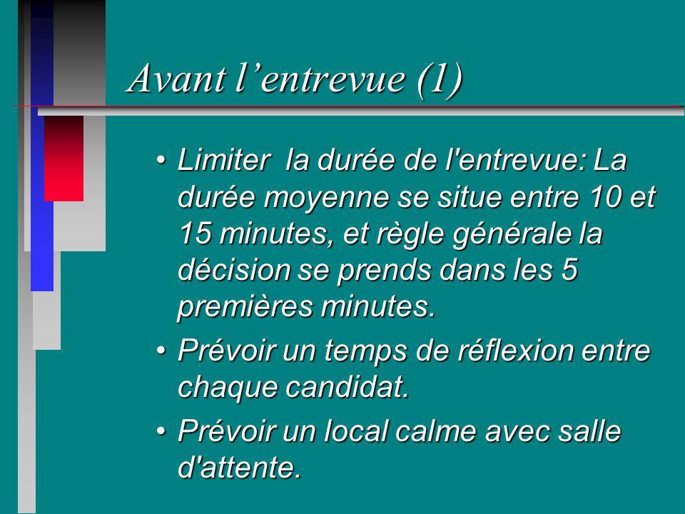 Avant lentrevue (1) Limiter la durée de l'entrevue: La durée moyenne se situe entre 10 et 15 minutes, et règle générale la décision se prends dans les