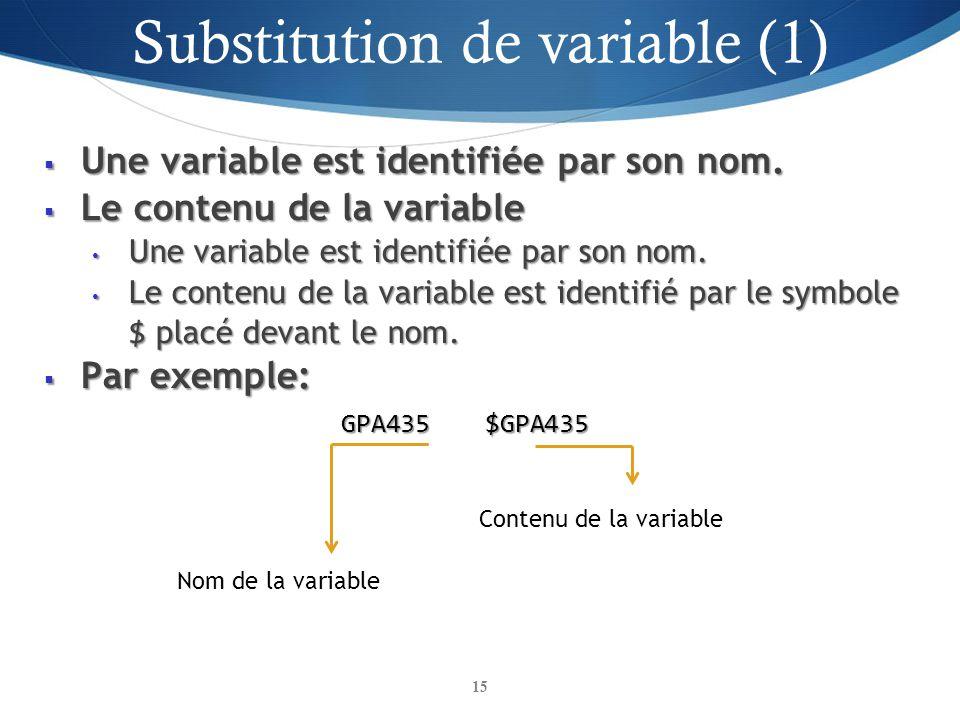 Une variable est identifiée par son nom. Une variable est identifiée par son nom. Le contenu de la variable Le contenu de la variable Une variable est