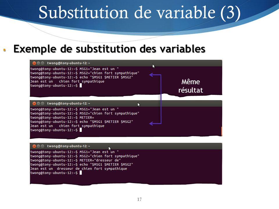 Exemple de substitution des variables Exemple de substitution des variables Même résultat Substitution de variable (3) 17