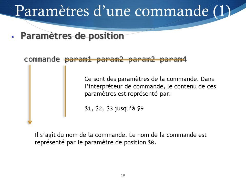 Paramètres de position Paramètres de position commande param1 param2 param2 param4 19 Il sagit du nom de la commande. Le nom de la commande est représ
