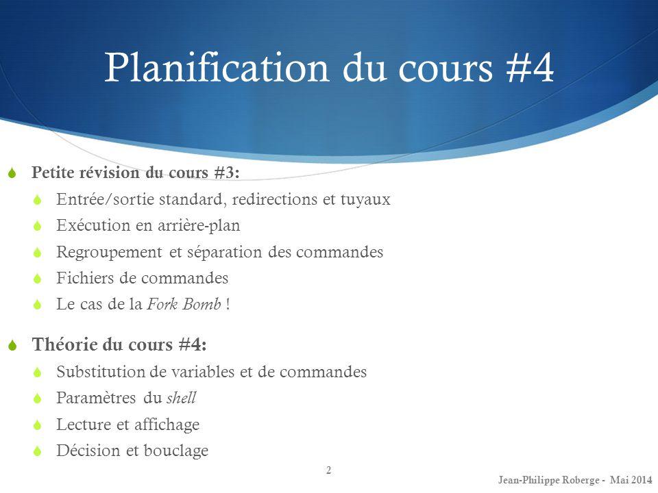 Planification du cours #4 Petite révision du cours #3: Entrée/sortie standard, redirections et tuyaux Exécution en arrière-plan Regroupement et sépara