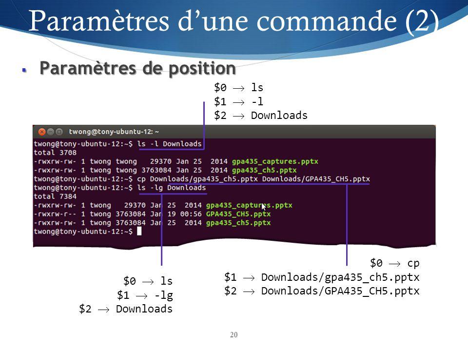 Paramètres de position Paramètres de position 20 $0 ls $1 -lg $2 Downloads $0 cp $1 Downloads/gpa435_ch5.pptx $2 Downloads/GPA435_CH5.pptx $0 ls $1 -l